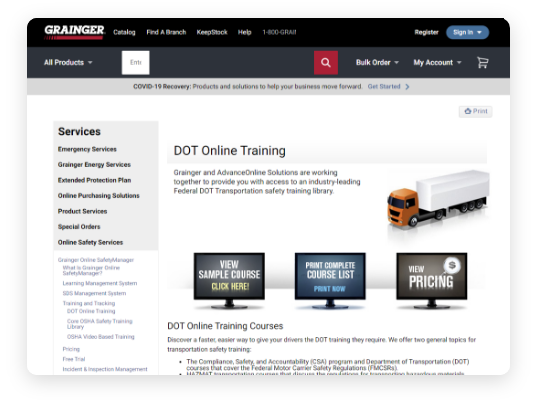 Grainger DOT online training